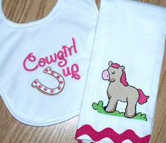 Baby Girl Gift Set  - Cowgirl Up Bib Horse Burp Cloth / Personalized