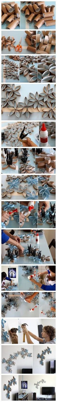 How to DIY toilet paper roll wall art project (Diy Paper Towel) Wall Decor Crafts, Diy Wall Art, Diy Home Decor, Wall Decorations, Diy Decoration, 3d Wall, Toilet Paper Roll Art, Rolled Paper Art, Home Crafts