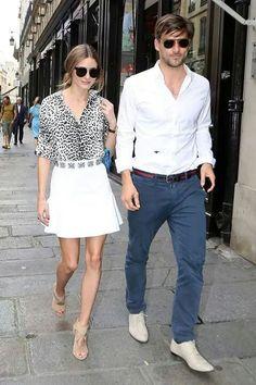 Falda blanca y blusa leopardo