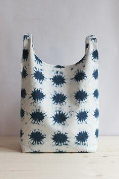 Hand Dyed Shibori Organic Cotton Tote Bag Japanese Bag Handbag Little Suns Indigo Blue