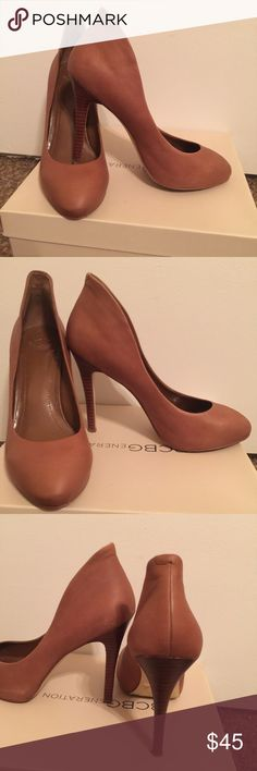 BCBG tan heels These shoes can compliment any out fit! You dress them down or dress them up! The options are endless. BCBG Shoes Heels