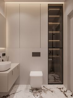 Image may contain: wall, indoor and bathroom Wc Design, Toilet Design, House Design, Design Ideas, Bathroom Design Luxury, Modern Bathroom Design, Washroom Design, Minimalist Toilets, Ideas Baños