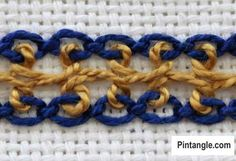 Photographed step by step instructions on how to work Interlaced Cable Chain stitch with ideas on how it can be used in your embroidery projects Embroidery Designs, Embroidery Transfers, Vintage Embroidery, Ribbon Embroidery, Embroidery Thread, Indian Embroidery, Cross Stitch Thread, Chain Stitch Embroidery, Hand Embroidery Stitches