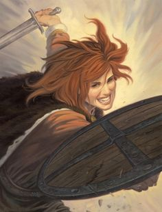 Shield (edge) Woman...very aggressive shield style ~fyi. don't try this in the sca!~ also, to call them 'maidens' seems to presume they were chaste as a nun, which I highly doubt! michaelmay: By François Miville-Deschênes. [Illustrateurs]
