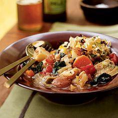 Vegetarian Slow-Cooker Recipes | White Bean, Artichoke, and Chard Ragout | CookingLight.com