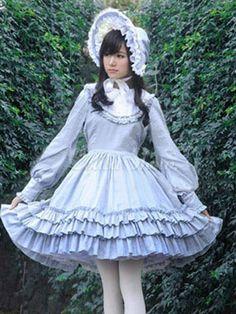 Lolitashow Blaues Rokoko Lolita Kleid Gericht gestufte Baumwolle Kleid