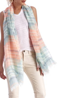 Lightweight, ultra-soft mixed stripe scarf in sorbet hues with fringed detailing