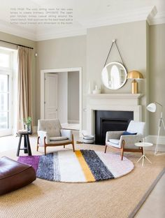 colorful rug, gold lamp, chairs and textures. beach house designed by Marti Doherty and Fiona Lynch 5