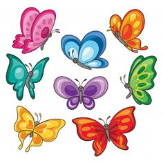 Set of colorful butterflies cartoon Prem. Art Drawings For Kids, Drawing For Kids, Cartoon Drawings, Cartoon Butterfly, Butterfly Drawing, Big Flowers, Vintage Flowers, Easter Symbols, Cartoon Background