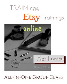 Starting April.13 * Maximize Etsy SEO with precise & spot on titles/tags supported with correct attribute/category/material choices that will move your listings to top, * Make eyecatching photographs that stand out from similar listings in an Etsy search and let your listings discovered, * Write speaking descriptions that invite your visitors to read more, * Plan optimal shipping & pricing strategies that sell, * And build a reliable shop that engenders trust.