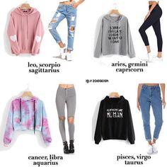 A zodiac outfit I like, minus the length of the crop top. Zodiac Signs Scorpio, Zodiac Star Signs, Aquarius Astrology, Taurus, Gemini Horoscope, Leo Zodiac, Teen Fashion Outfits, Outfits For Teens, Female Outfits