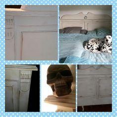 En gammal tråkig sänggavel fick sig ett lyft med Annie Sloans Chalkpaint i kulör Old white, darkwax, clearwax och slitage så klart 😉 Dödskallar som sängknoppar kändes lite rätt!