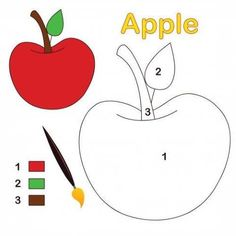 An apple sits ready to color. This activity consists of only three colors and comes with a legend and fully colored reference. Math Coloring Worksheets, Alphabet Coloring Pages, Kindergarten Worksheets, Preschool Color Activities, Toddler Learning Activities, Preschool Activities, Alphabet Letter Crafts, Letter Tracing, Apple Coloring