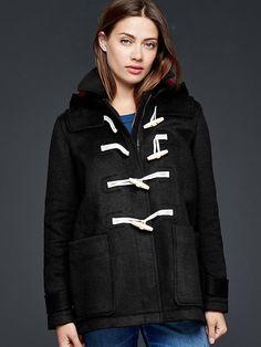 Contrast wool toggle coat