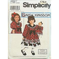 "Simplicity Pattern 8827 Child's and Girls' Dress and Doll Dress for 18"" Doll Size: HH 3, 4, 5, 6 Chest: 22"", 23"", 24"", 25"" Waist: 20 1/2"", 21"", 21 1/2"", 22"" Hip: -, 24"", 25"", 26"" Dress cut crosswise o"