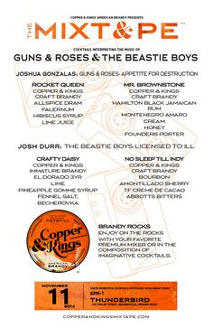 Copper & Kings MIXT&PE Menu at Thunderbird, Indianapolis on Nov. 11, 2014. Cocktails interpreting the music of Guns & Roses and The Beastie Boys #brandy #brandyrocks #mixtape #copperandkings #americanbrandy #craftbrandy #gunsandroses #beastieboys #thebeastieboys #thunderbird #indy #indianapolis #indiana #cocktail #cocktails #brandycocktail #drink #music #apetitefordestruction #rocketqueen #mrbrownstone #licensedtoill #craftydaisy #nosleeptillindy