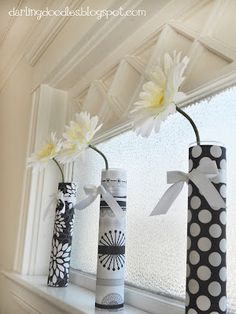 Wrapped vases- what a quick and cute way to improve the room