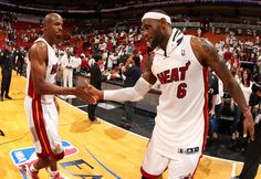 Ray Allen and LeBron James of the Miami Heat celebrate after the game against the Indiana Pacers in Game Three of the Eastern Conference Finals during the 2014 NBA playoffs at the American Airlines Arena in Miami, Florida on May 24, 2014. (Photo by Issac Baldizon/NBAE via Getty Images)