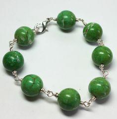 Green Magnasite Gemstone Bracelet Wire Wrapped Magnasite Bracelet Large Gemstone Bracelet. $30.00, via Etsy.