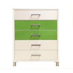 5 Drawer Tallboy// Snowdrift White and Green Gloss <3