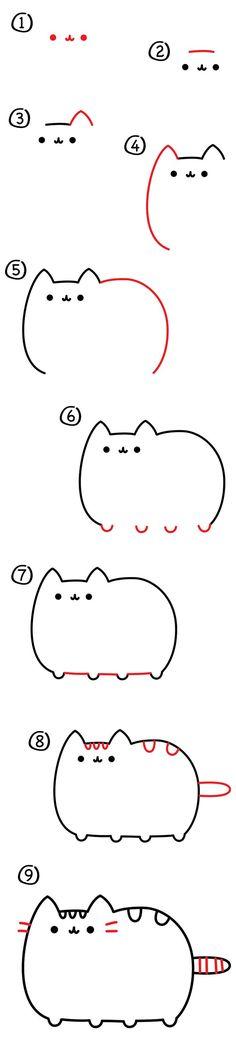 How to draw Pusheen the cat! How to draw Pusheen the cat! Kawaii Drawings, Doodle Drawings, Cartoon Drawings, Doodle Art, Easy Drawings, Funny Drawings, Cartoon Art, Cartoon Kids, Cartoon Memes