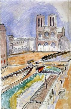 Notre Dame - Henri Matisse -1914 Note: Twelve years earlier Matisse painted this same view in darker heavier tones compared to this light airy view. .................#GT