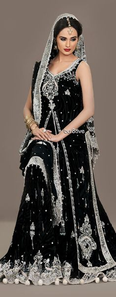 La Chantal 2012 Fall Bridal Collection - black and silver sarees are so hard to find! Pakistani Bridal, Pakistani Dresses, Indian Bridal, Indian Dresses, Indian Outfits, Pakistani Couture, Indian Clothes, Fashion Mode, India Fashion