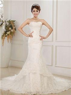 Graceful Beading Floor Length Cheap Train Sweetheart Trumpet Mermaid Wedding Dress