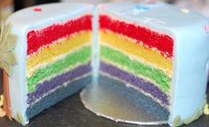 Rainbow cake inside In The Night Garden cake.