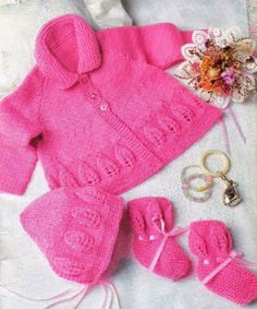 Knitting PATTERN  Baby Knit jacket Bonnet and Booties by carolrosa