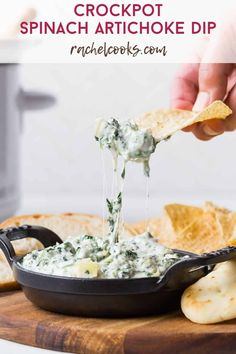 Creamy and delicious, crockpot spinach artichoke dip is so easy to make, great with a variety of dippers, and always a hit at parties. It can be baked in the oven if you prefer. Spinach Recipes, Dip Recipes, Appetizer Recipes, Crockpot Recipes, Cooking Recipes, Appetizers, Tiramisu Dip Recipe, Best Tortilla Chips