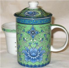 Chinese Tea Cup - Green & Blue Floral