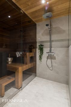 Home Spa Room, Spa Rooms, Sauna House, Sauna Room, Loft Bathroom, Modern Bathroom, Sauna Design, Wine Cellar Design, Spa Shower