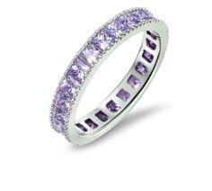 Women's Sterling Silver Princess Cut Cubic Zirconia Eternity Wedding Band Ring