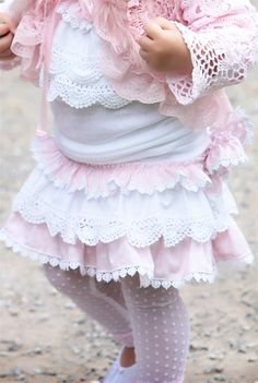 Pink and white layered skirt...for a little bit older child with some height