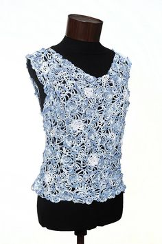 Crochet lace top Blue by olgatulip on Etsy