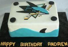 san jose sharks cake - 'nother idea.. #SanJoseSharksFood #SanJoseSharks #SharksTerritory