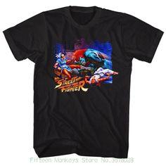 T-shirt Men Short Sleeve Tshirt Street Fighter Alley Fight Black Men's Adult Short Sleeve T-shirt Street Fighter Shirt, Sf V, Gamer T Shirt, Shirt Men, Wrestling Shirts, Video Game T Shirts, Movie Shirts, Chun Li, Men Street