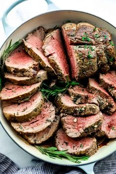 Garlic Herb Butter Beef Tenderloin is a juicy tenderloin seared and roasted with herb butter seasonings all baked to a buttery perfection! Impress your guests with this beautiful beef tenderloin! Beef Tenderloin Recipes, Roast Beef Recipes, Beef Recipes For Dinner, Game Recipes, Family Recipes, Keto Recipes, Chicken Recipes, Beef Tenderlion, Raclette Originale