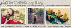 The CoffeeShop Blog. Photography tutorials, actions and editing tools, and digital scrapbooking designs. My newest favorite site.