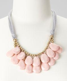 Gray & Pink Teardrop Bib Necklace   zulily