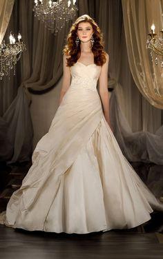 Simple Sweetheart #Ruching Beading #Ball Gown Sweep/brush Train Taffeta Wedding Dresses