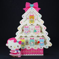 Hello Kitty Sparkling Christmas Tree w/ Illuminated Lights and 20 Melodi...
