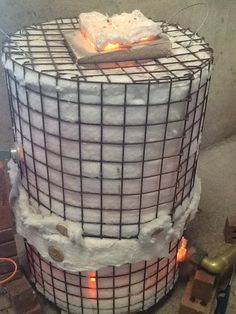 My #raku kiln glowing with the heat. About 1100 Degrees Celsius www.clairemolloyceramics.com