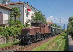 """""""Crocodile"""" Ce 6/8 II # 14253 of SBB Historic from Erstfeld with a charter train reaching it's destination Locarno. The iconic Gotthard locomotive was built in 1919, when the line was electrified."""