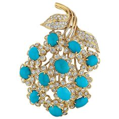 David Webb Turquoise, Diamond, and Yellow Gold Flower Brooch | From a unique collection of vintage brooches at http://www.1stdibs.com/jewelry/brooches/brooches/