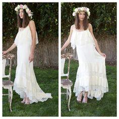 high low silk chiffon BOHEMIAN WEDDING DRESS   dreamy boho beach wedding dress   Ivory Silk and Lace Gown   fishtail hem.