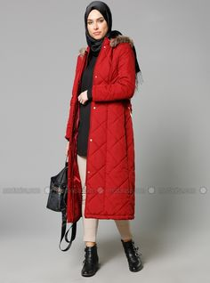 quilted Coat - Maroon - Mervin