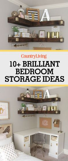 Whether you live in a big house or tiny bungalow, there's no such thing as too much storage, especially in your bedroom! With these brilliant bedroom storage ideas, you can make more room for activities in your bedroom! Use up vertical space with budget-friendly floating shelves made of wood.