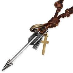 Men's Modern Genuine Brown Leather Arrow & Cross Necklace Men's Jewellery #mensfashion #mensjewellery